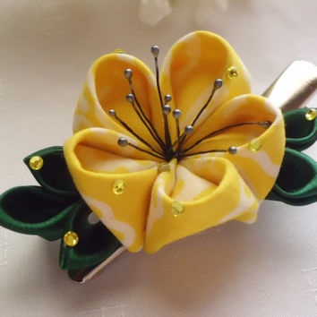 Yellow Ume Flower Batik Kanzashi Hair Clip