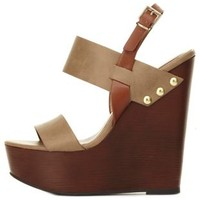 Slingback Platform Wedge Sandals by Charlotte Russe