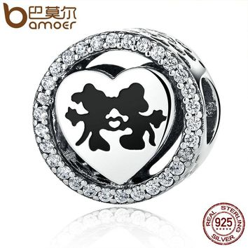 Real 925 Sterling Silver Sparkling Minnie Sweet Cartoon Love Story with Clear CZ Charms Beads Fit Bracelet Jewelry PSC058