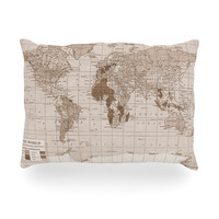 "Catherine Holcombe ""Emerald World"" Vintage Map Oblong Pillow"