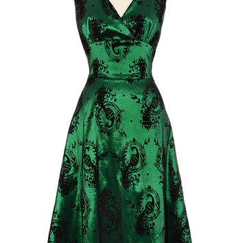 Shimmering Peacock Flocked Dress