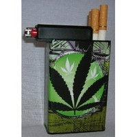 Cigarette Case Green Plant Weed with Built on Lighter Holder