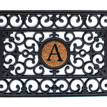 "Door Mat, 1'6""x2'6"" Monogram Mat, Black, Door Mats"