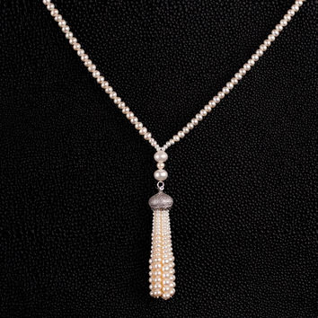 New Arrival Shiny Stylish Gift Jewelry Simple Design Pearls 925 Silver Accessory Necklace [4914861764]