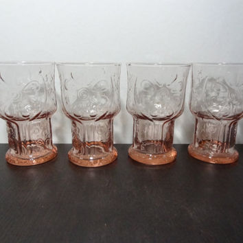 "Vintage Libbey Drinking Glasses Pink Color ""Country Garden"" Raised Daisy Pattern - Set of 4"