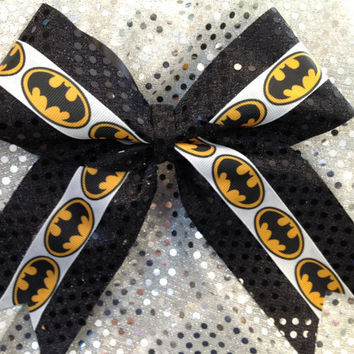 Black  Batman Sparkle Cheer Dance Bow Ribbon