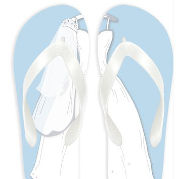 Bride in Blue background Flip Flops