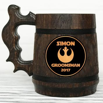 Groomsmen Mug. Star Wars Mug. Groomsmen Gift. Rebel Alliance Wood Beer Steins. Star Wars Gift. Wooden Beer Tankard Best Man Groom Gift #54 / 0.6L / 22 ounces