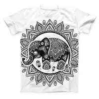 The Indian Mandala Elephant ink-Fuzed Unisex All Over Full-Printed Fitted Tee Shirt