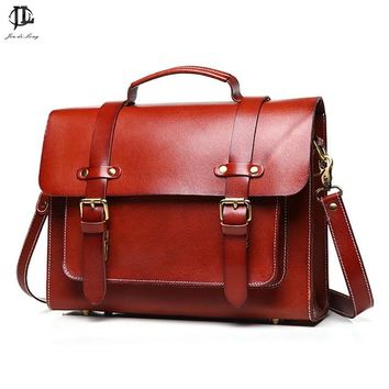 Retro Crazy Horse Genuine Leather Women Leather Briefcases