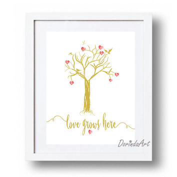 Heart Tree printable Love quote print Gold wall art print Valentines printable Gold home decor Heart tree art Gold and red valentines gift