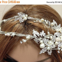 Bridal headband, bridal tiara, pearl tiara, rhinestone headband, Crystal headband, mother of pearls hair jewelry, pearl headband