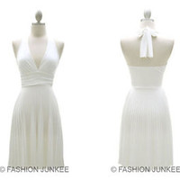 WHITE Marilyn Dress Pleated Low Cut V-Neck Halter Cocktail Mini Short S M L SIZE