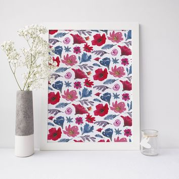 Watercolor Boho Chic Flower Art Print