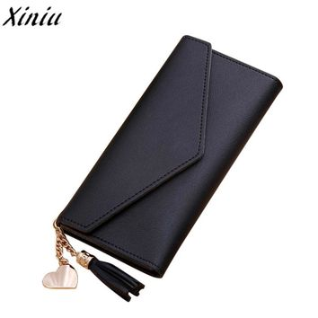 Women Simple Purse Solid Color Leather Long Wallet Tassel Pendant Money Bag Handbag Vintage Clutch Bag Portefeuille Femme #9706