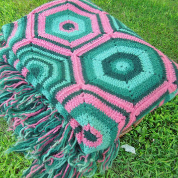 "Vintage crochet afghan throw blanket with teal green pink hexagonal design 74"" x 56"""