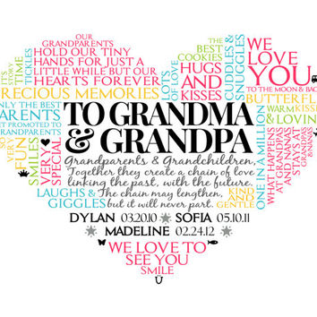 Personalized Grandparent Heart Word Art