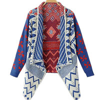 Geometric Print Lapel Knit Sweater