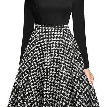 Black-White Plaid Draped Pockets Off Shoulder Tutu Party Midi Dress