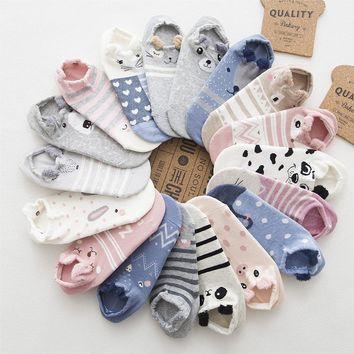 Cute Cartoon Animal Bear Rabbit Pig Fox Dog Cotton Ankle Socks Funny Crazy Cool Novelty Cute Fun Funky Colorful