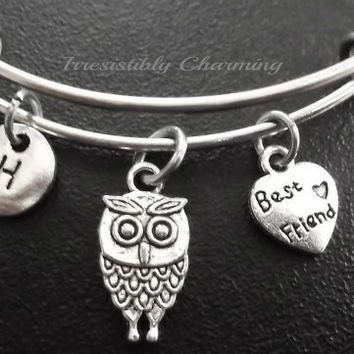 Best friends, owl Stainless Steel Expandable Bangle, monogram personalized item No.726
