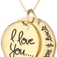 "Sterling Silver Yellow-Gold Flashed ""I Love You To The Moon and Back"" Two Piece Pendant Necklace, 18"""
