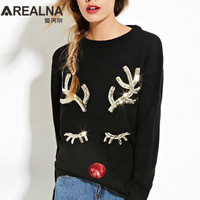 Jumper Christmas Cashmere Sweater Women Clothes 2017Autumn Winter Reindeer Sequins Knitted Sweater With Deer Pull Hiver Femme
