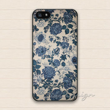 Porcelain Floral iPhone 5 Case,iPhone 5s Case,iPhone 4 4s Case,Samsung Galaxy S3 S4 Case, Vintage Purple Flower Hard Rubber Cover Skin Case