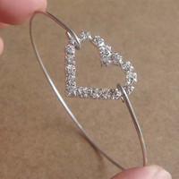 Elegant Rhinestone Heart Bangle Bracelet Simple by silverglory