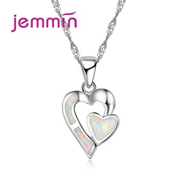 Jemmin Elegant Heart to Heart Pendant Micro Inlaid Sparkly Fire Opal Stone Fashion Hollow Heart Shape Real 925 Silver Necklace