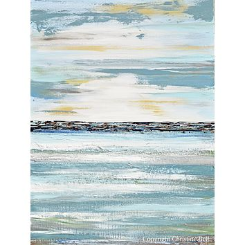"""""""Contentment"""" ORIGINAL Art Coastal Abstract Painting Textured Light Blue Teal White 30x40"""""""