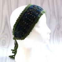 handmade crochet headband with ties, head wrap, head tie, ear warmer, Winter Fashion, ready to ship, UK seller