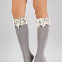 Crochet Cuff Knee High Socks