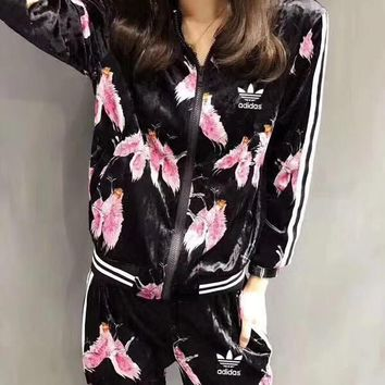 """Adidas"" Women Fashion Stripe Flower Print Velvet Zip Cardigan Long Sleeve Trousers Set Two-Piece Sportswear"