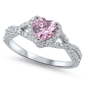 Sterling Silver Heart Halo Simulated Gemstone Promise Ring All Colors Available