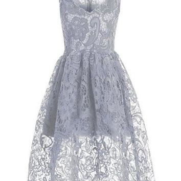 Casual Stunning Sheer Lace Vintage Skater Dress