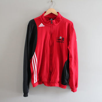 Adidas Jacket Red Adidas Jersey Jacket Training Soccer Sports Warm-Up Jacket Adidas Track Jacket Tracksuit Vintage 90s Size L