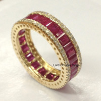 14K Yellow Gold Emerald Cut Pink Sapphire Wedding Band Eternity Anniversary Ring