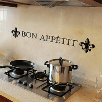 Kitchen Wall Decal, Bon Appetit, Phrases and Words, Vinyl Sticker, Pantry, Dining, Home Decor, French Decor