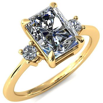 Poppy Radiant Moissanite 4 Claw Prong 2 Rail Basket Round Sidestones Inverted Cathedral Engagement Ring