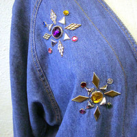 Studded Denim Shirt Blouse Vintage 1980s Jean Gem Jeweled Bingo