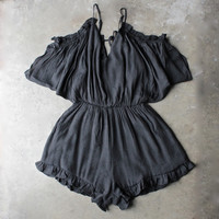 crinkled peek a boo shoulder romper with ruffle hem in black