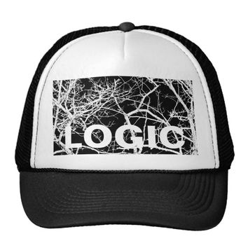 Tree branches on black background trucker hat