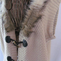 Boho Toggle Button Vest Fur Collar Womens Sweater Vest