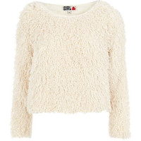 Cream Chelsea Girl shaggy crop jumper