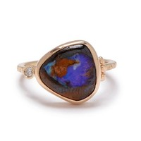 14k BOULDER OPAL AND DIAMOND RING | Emily Amey Jewelry