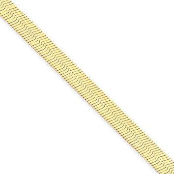 5mm, 14k Yellow Gold, Solid Herringbone Chain Necklace, 24 Inch