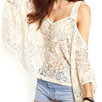 White Cut-Out Lace Blouse