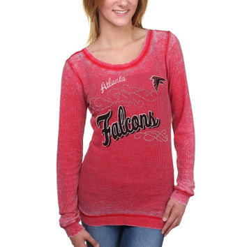 Atlanta Falcons Touch by Alyssa Milano Women's Blitz Burnout Thermal Long Sleeve Tri-Blend T-Shirt – Scarlet