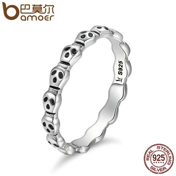 Genuine 925 Sterling Silver Stackable Ring Skeleton Face Skull Finger Rings for Women Jewelry Anel Halloween Gift SCR092